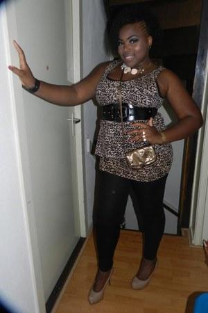 leopard print H&M dress - bubble gum flowersmetal Forever 21 necklace