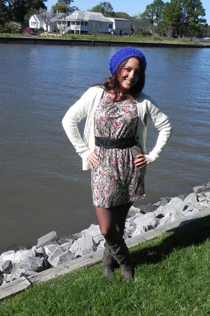 Forever 21 cardigan - Rocketdog boots - Forever 21 dress - Forever21 hat