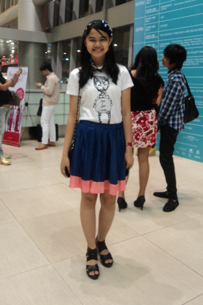 ivory shirt - blue skirt - bubble gum skirt - black wedges