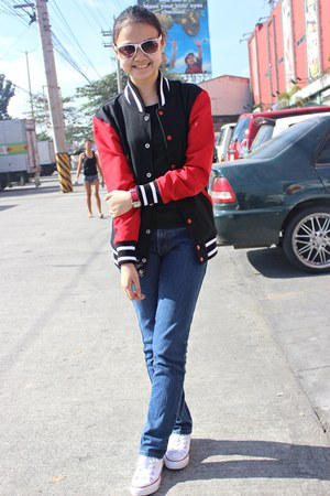 black jacket - white shoes - navy jeans