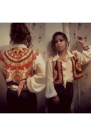 white sheer Goodwill blouse - black leather Payapa leggings