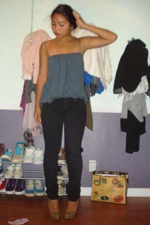 black BDG jeans - blue UO top - beige Charlotte Russe shoes