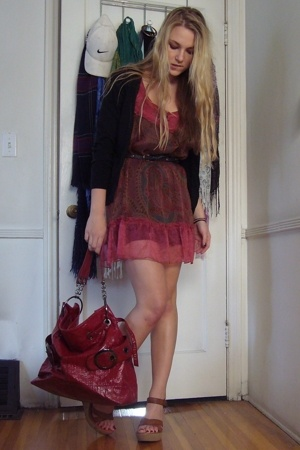 banana republic sweater - big buddha purse - Urban Outfitters dress - Target bel