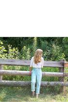 blue vintage pants - white vintage top - brown DIY necklace