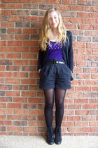 black Kimchi Blue boots - black unknown tights - black H&M shorts - black unknow