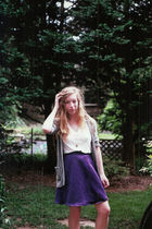 purple DIY skirt - gray American Eagle cardigan - gold vintage necklace - white