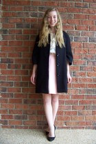 black Forever 21 coat - light pink vintage skirt - ivory talbots blouse - black