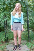 blue vintage blouse - black diy vintage shorts - black K-mart shoes - silver vin