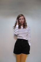 mustard Target tights - white striped Gap shirt - black H&M shorts