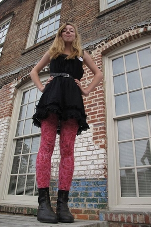 black vintage dress - pink Urban Outfitters tights - black My moms shoes - black