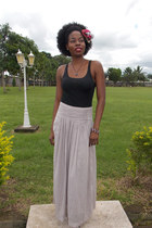maxi skirt next skirt - shoes - head scarf self-made scarf - tank top H&M top