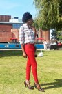 Red-zara-jeans-brown-gap-shirt-dark-brown-calvin-klein-pumps