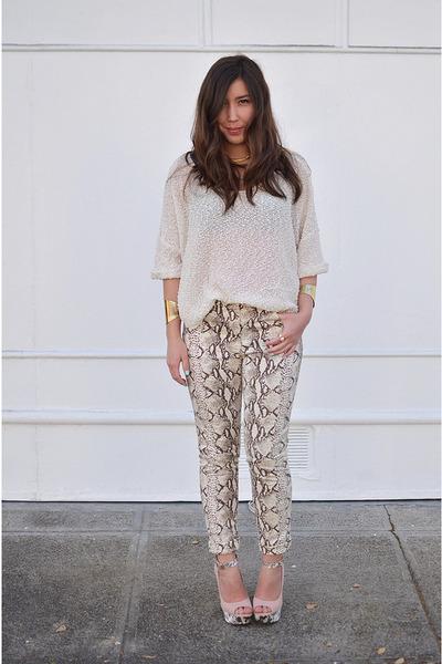 beige snakeprint H&M pants - nude snakeprint Charlotte Russe shoes
