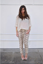 beige snakeprint H&M pants - nude snakeprint Charlotte Russe shoes