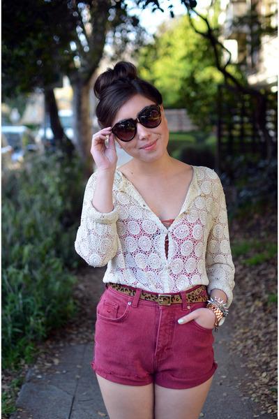 vintage shorts - crochet vintage shirt - leopard Target belt