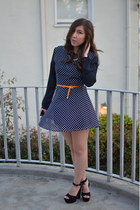 navy polka dot vintage dress - light orange JCrew belt - black AmiClubWear heels