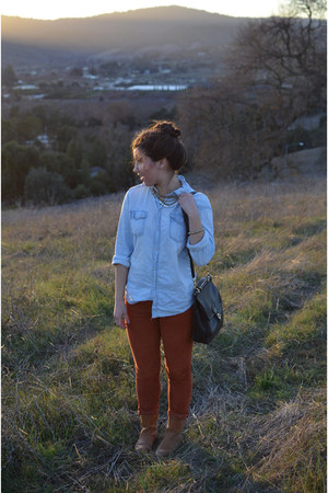burnt orange corduroy Zara pants - denim hm shirt