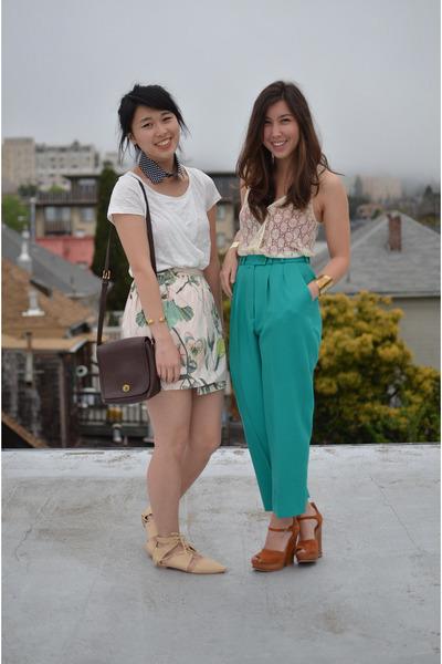 Shoppalu pants - lace Macys shirt - H&M skirt - collar Dixi accessories