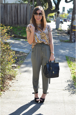 sequin Forever21 shirt - black vintage Coach bag - army green CottonOn pants