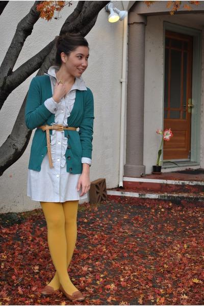light blue Anthropologie dress - teal banana republic sweater - mustard f21 tigh