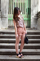 sequin Forever 21 shirt - scallop new look shorts