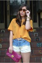 DIY shorts - thrifted shirt - coach bag - Dixi glasses