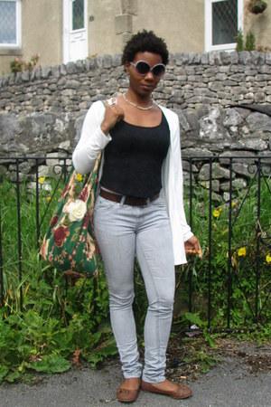 heather gray skinny Mossimo jeans - dark green flowered loud bag - heather gray