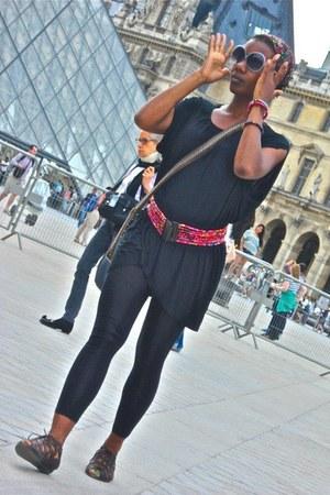 brown handmade bag - black Forever 21 leggings - heather gray sunglasses