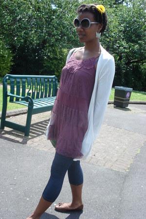 magenta lacy xhilaration dress - blue denim asos leggings - yellow Pound Saver a