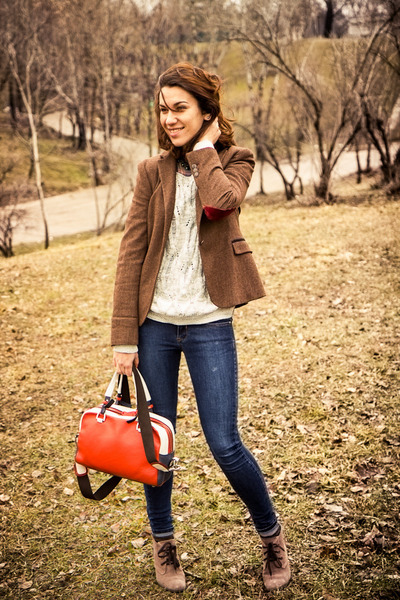 Zara blazer - Otter boots - skinny Mango jeans - Promod sweater