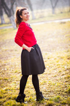 H&M skirt - Otter boots - Koton sweater - pull&bear necklace
