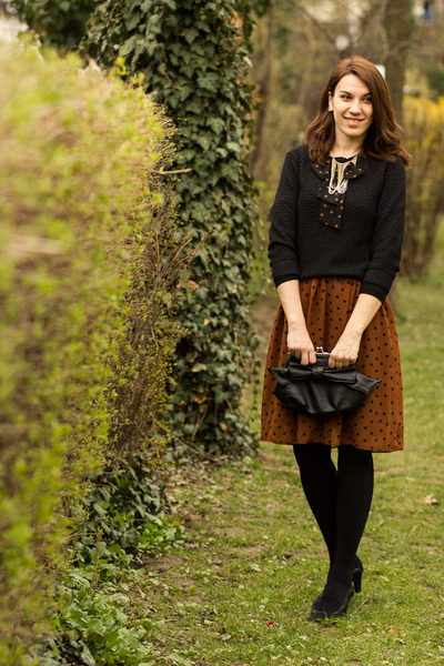 meli melo purse - Musette shoes - polka dots bows nissa dress - Koton sweater