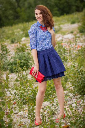 Koton skirt - vintage shoes - Promod shirt - Musette bag - pull&bear necklace