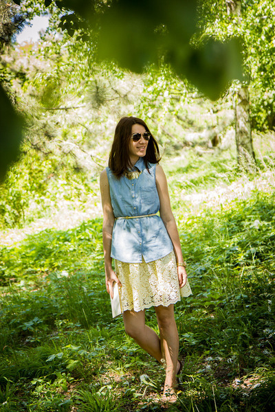 denim H&M shirt - lace Zara dress - H&M necklace - pull&bear sandals