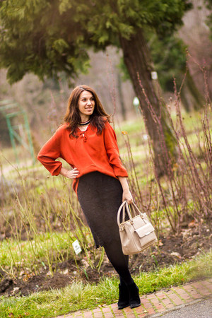 Promod shirt - Mango boots - Musette bag - Promod necklace - lace Promod skirt