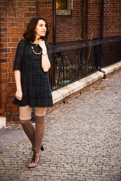 Calzedonia tights - Otter boots - pull&bear dress - Calzedonia socks