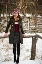 military Zara coat - Mango boots - skull print pull&bear scarf