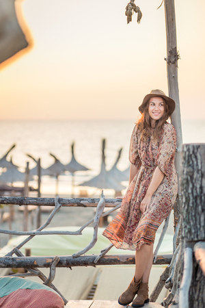 bohemian browns Zara dress - Mango boots - Zara hat