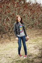 wonder woman pull&bear t-shirt - Mango jeans - leather Zara jacket