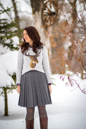 H&M sweater - Bata boots - H&M shirt - trifted skirt