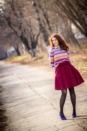 H&M shoes - Massimo Dutti dress - H&M sweater - denim H&M shirt - Zara necklace