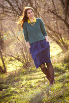 Promod boots - H&M sweater - Camaïeu shirt - Accessorize necklace - Zara skirt