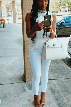 ivory blouse - white clear perspex heels - white white linen pants