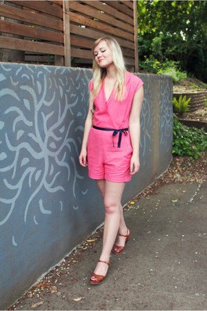 bubble gum handmade romper - tawny thrifted vintage sandals