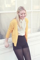 gold JCrew sweater - black American Apparel shorts - off white vintage blouse