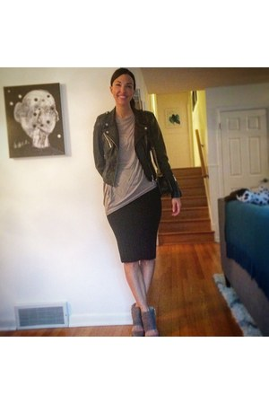 tan banana republic shoes - black Zara jacket - beige helmut lang top