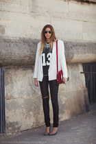 blazer - 13 t-shirt - animal print heels