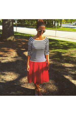 sunglasses - red asos skirt - stripes H&M top
