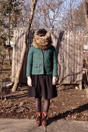 Gap jacket - thrifted vintage boots - Ann Taylor Loft scarf - H&M skirt