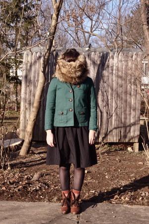 Gap jacket - thrifted vintage boots - Ann Taylor Loft scarf - H&M skirt